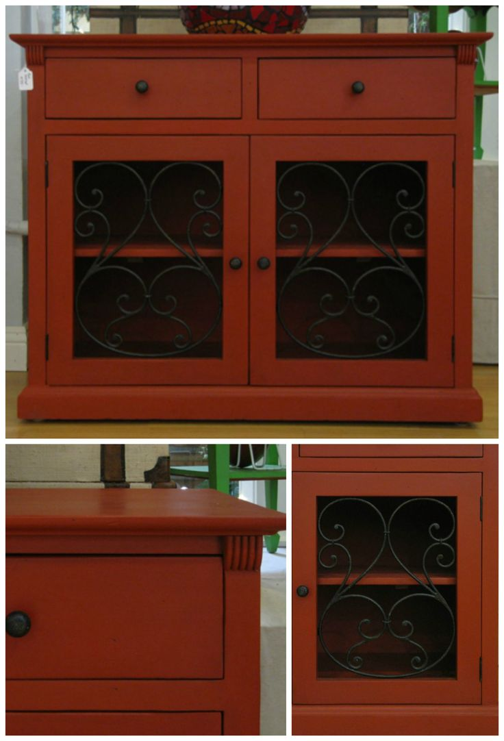 Red cabinet with wrought iron details, painted with Chalk Paint® in Emperor's Silk, clear & dark wax - by Artistic Home Studio & Boutique