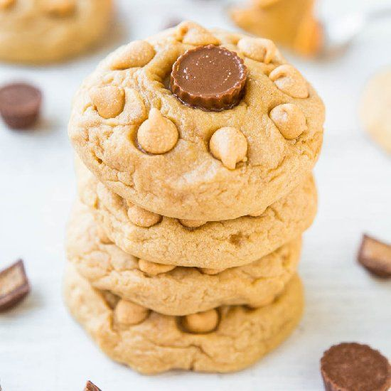 Soft & Chewy Triple Peanut Butter Cookies - PB is used 3 ways in these ...
