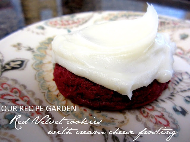 Red Velvet Cookies with Cream Cheese Frosting- Doesn't use a cake mix!