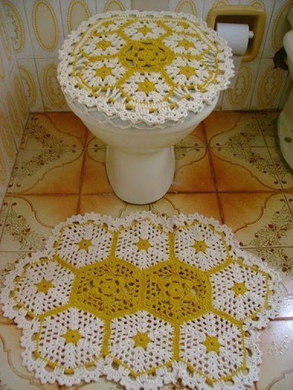 Tapetes para bano a crochet - Imagui