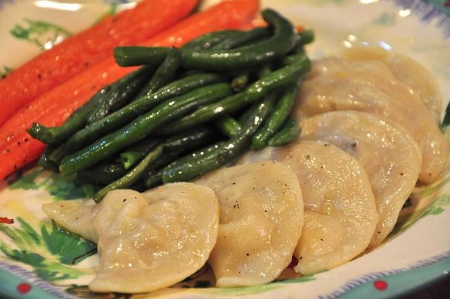 potato amp smoked maitake pierogi with braised carrots amp green beans