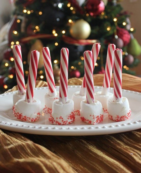 Candy cane & marshmallow Christmas hot chocolate stirrers