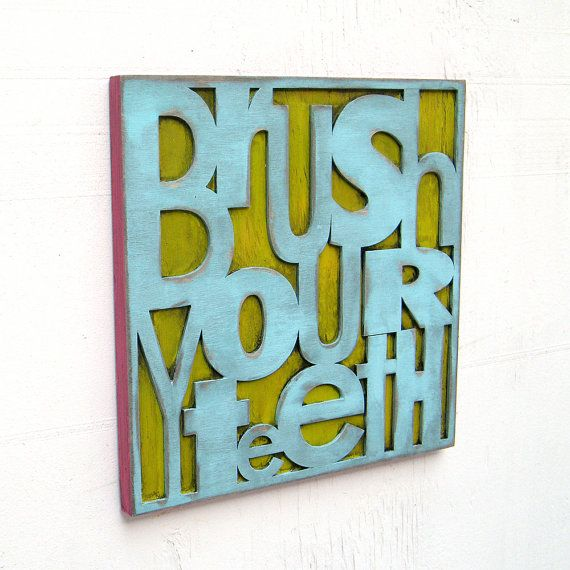 Bathroom decor brush your teeth children 39 s room decor sign for Bathroom decor etsy