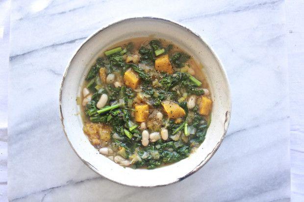 butternut kale leek & white bean soup