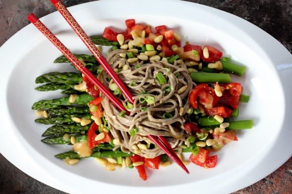 asparagus and buckwheat noodles, tomato, pine nut, scallion with ...
