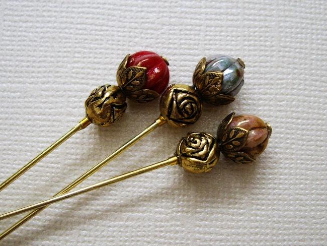 rosebud hat pins
