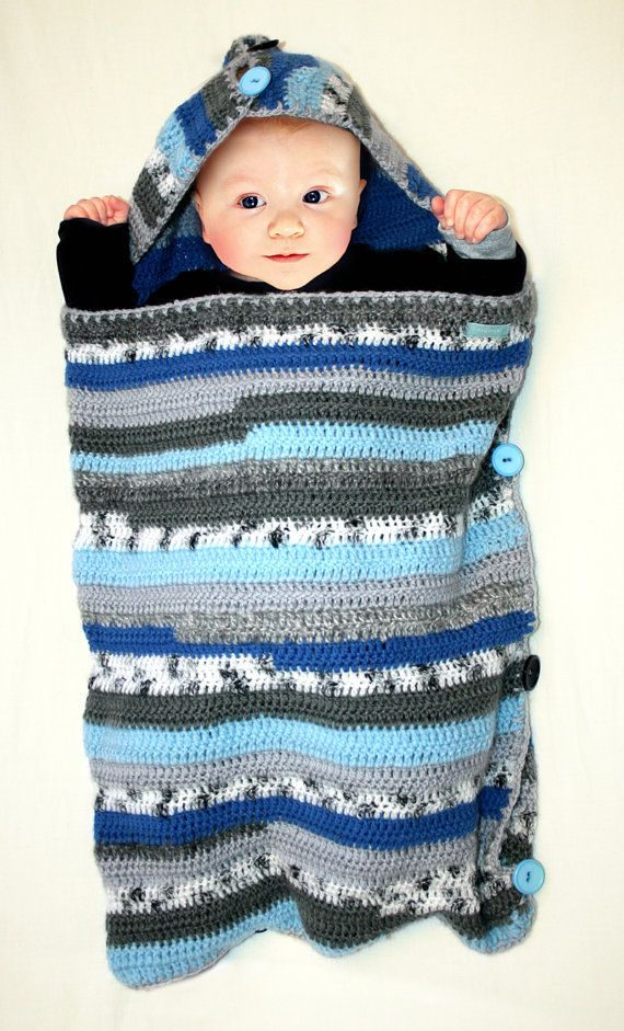 SLEEP SACK / sleeping bag for baby crocheted blue striped via Etsy