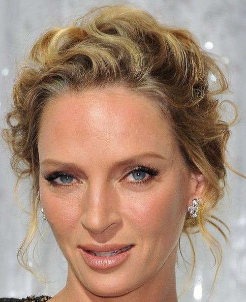 uma thurman hairstyles : Uma Thurman Bobby Pinned updo