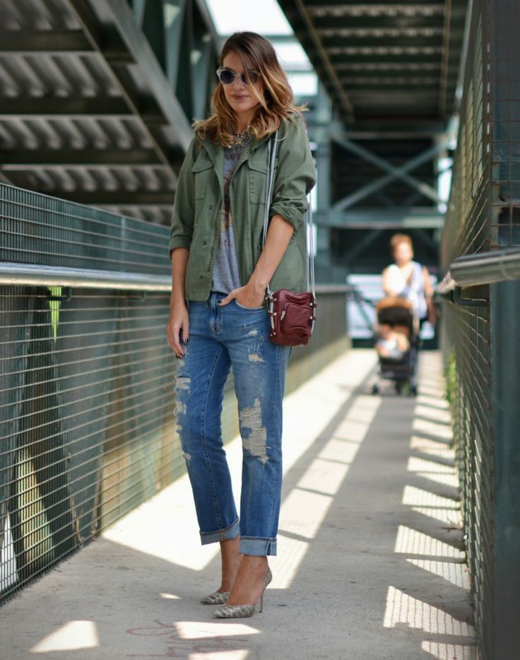 Swap your black pants for distressed boyfriend jeans to spring-ify your look this season. // #fashion #style #streetstyle...