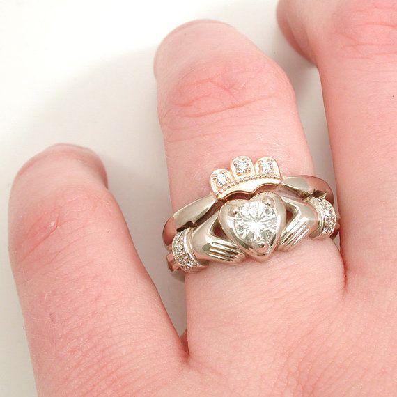 Stacking Claddagh Engagment Wedding Ring Set By SwankMetalsmithing