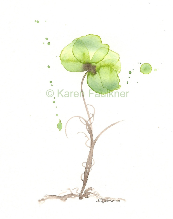 Olive Orchid watercolor giclee fine art print by karenfaulknerart  I need a large scale of something like this in my living room... Time to rediscover painting???