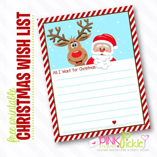 Free printable christmas wish list holly jolly christmas pinterest
