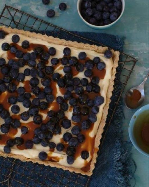 Blueberry Tart with Caramel Sauce   Recipe