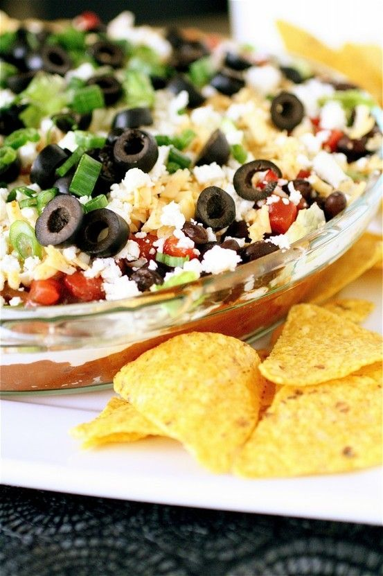 Layered Taco Dip. Minus the beans. Trying thissssss