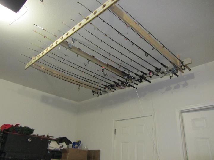 Fishing pole rack garage pinterest for Homemade fishing rod holders for garage