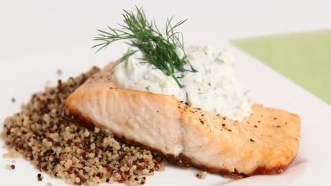 Seared Salmon with Dill Cucumber Sauce   Laura Vitali ( Laura in the ...