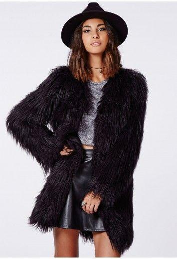 Cloe Faux Gorilla Fur Coat Black - Coats & Jackets - Missguided