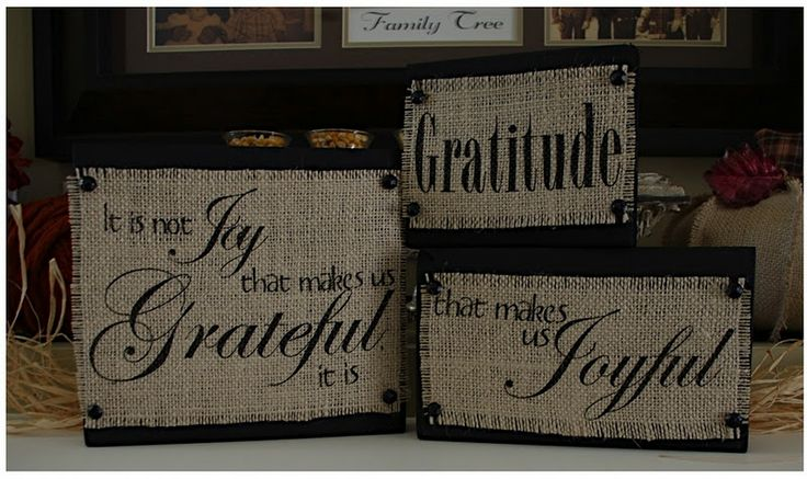Give thanks - quotes printed on burlap on blocks