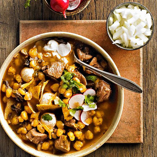 Pozole (Pork and Hominy Stew) A traditional Mexican stew, calls for ...