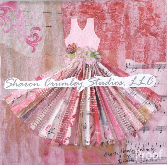 beats by dr.dre beats Mixed Media Collage Art Print 100 Dresses Art Series Pink Dress 84