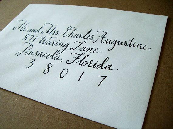 Formal Wedding Envelope Calligraphy Handwritten In Black