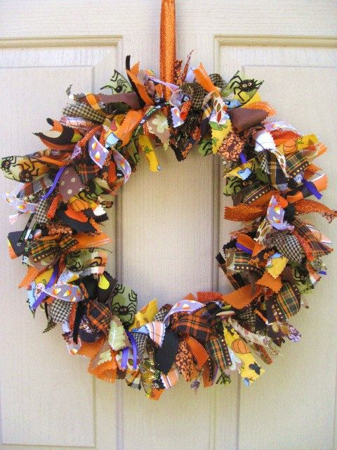 Halloween Wreath, Fabric Wreath and Ribbon Wreath