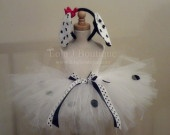 Dalmation Puppy Costume Tutu- up to 10 inch length - Custom Made To Order  Red Bow Black Polka Paw Print Dot Ears. $37.00, via Etsy.