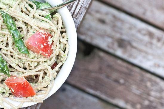 Garlic Scape Pesto Spaghetti *Asparagus *Whole wheat spaghetti *Garlic ...
