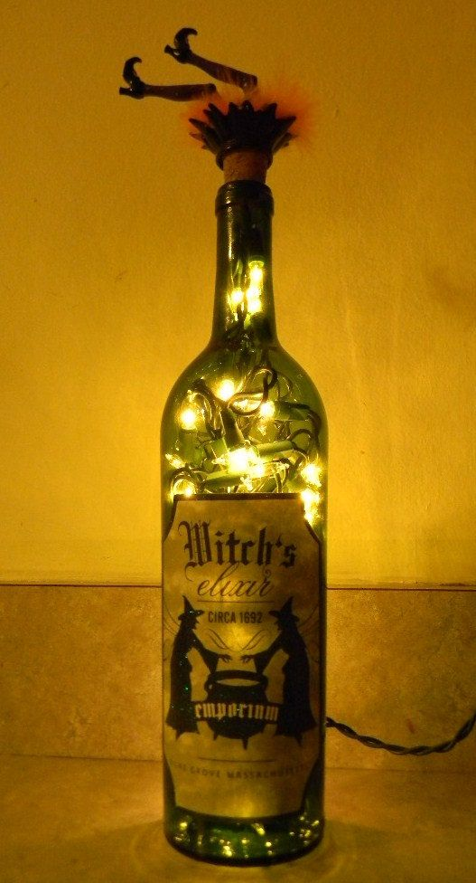 Halloween lighted wine bottle with wicked witch stopper for Light up wine bottles