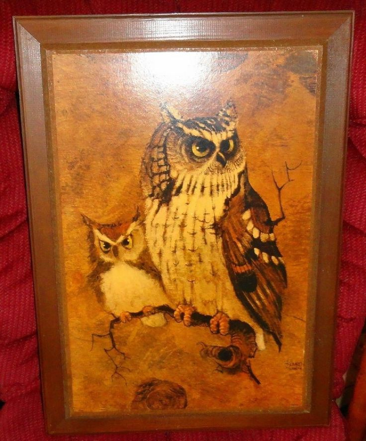 Vintage Home Interior Dad And Little Henry Owl Print
