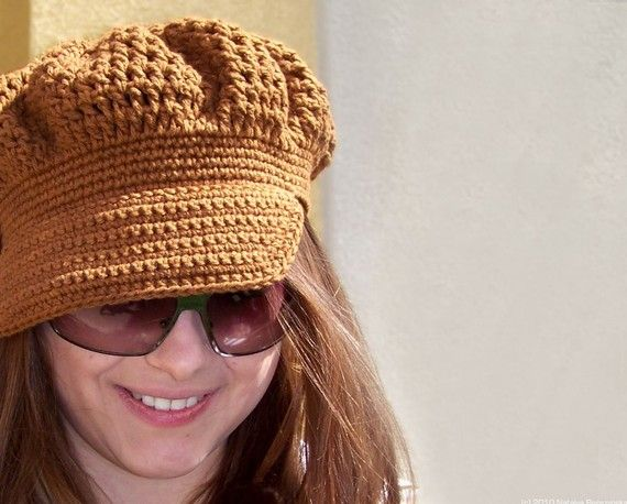 Brown Crochet Newsboy Hat Crochet - Hats and photo props Pinterest