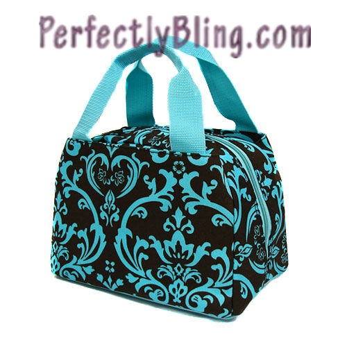 Floral lunch bag brown amp teal 14 95 www perfectlybling com pint