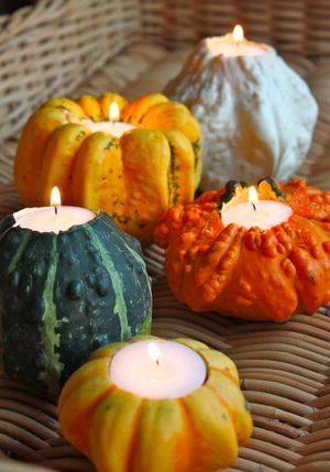 "Stylish Decor Ideas for Fall Entertaining: ""Gourd""eous Candle Holders"