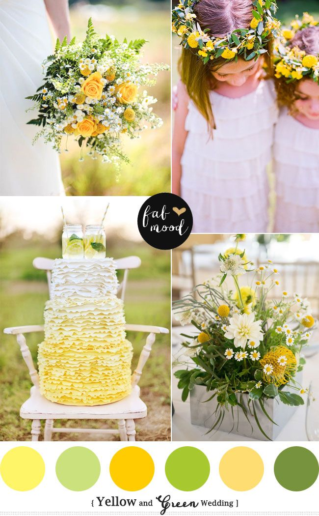 New palette Spring and Summer Wedding read more :  http://www.fabmood.com/yellow-green-wedding-colors/  yellow green wedding colors, Yellow green wedding motif,yellow green wedding ideas,Green and Yellow wedding theme