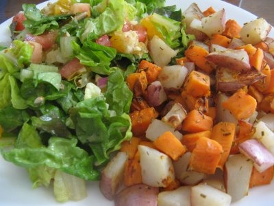 Rosemary Reds and Sweet Potatoes with a big green salad. Perfect combo ...