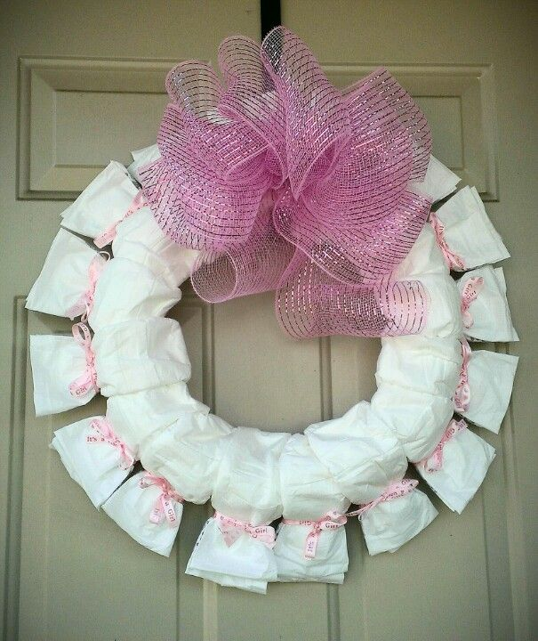 diaper baby shower wreath poochie baby girl pinterest