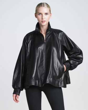 Zip-Front Leather Poncho Jacket by Jean Paul Gaultier at Neiman Marcus. #NMFallTrends