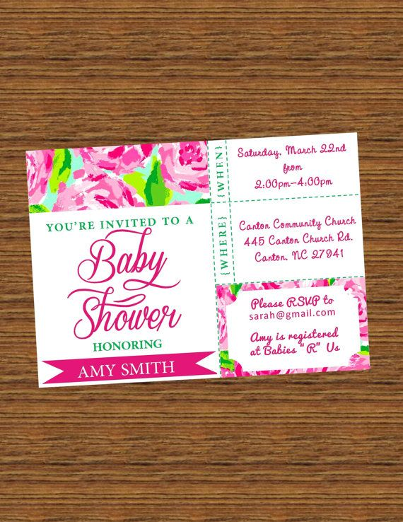 made to order printable baby shower invitation pink lilly pulitzer