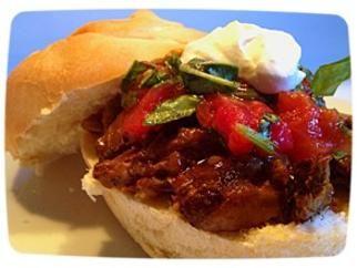 Braised Short Rib Sandwich with Roasted Tomatoes and Horseradish Crea ...
