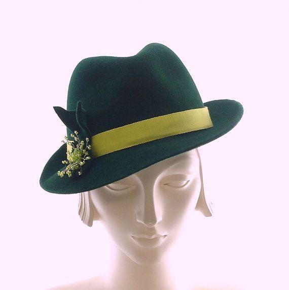 green womens fedora hat 1940s snapbrim porkpie hat