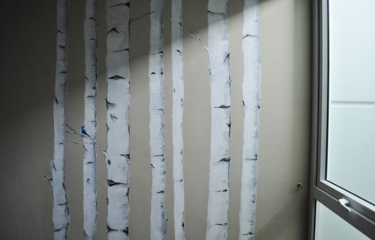 Diy wallpaper birch wall diy home decor pinterest for Diy birch tree mural