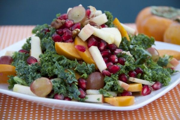 Persimmon Apple Kale Salad with Creamy Tahini Dressing