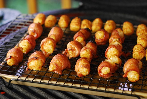 bacon wrapped tater tots | Big Green Egg cooking | Pinterest