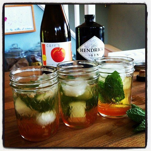 Cider Rhubarb Fizz - Gin, Rhubarb Syrup, Hard Cider, Mint