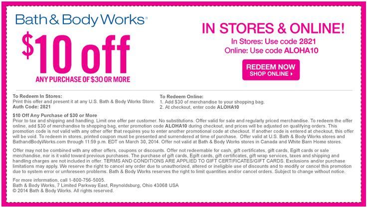 Bath and body works printable coupon 2018 august