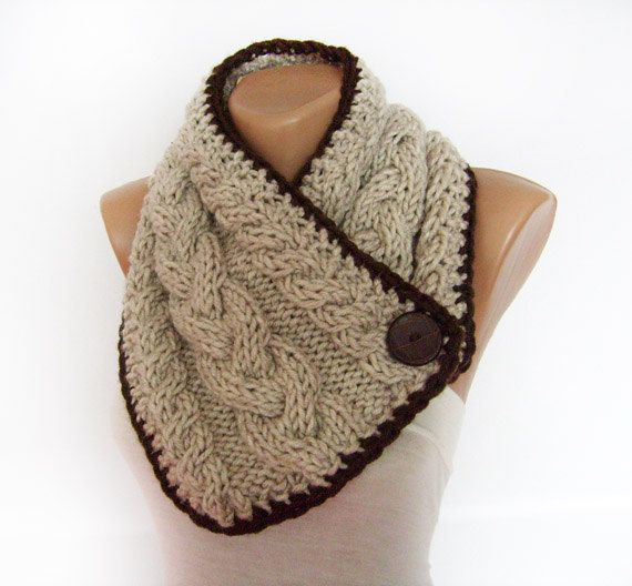 Chunky Knit Scarf, Neck Warmer, Cable Knit Cowl, Button ...