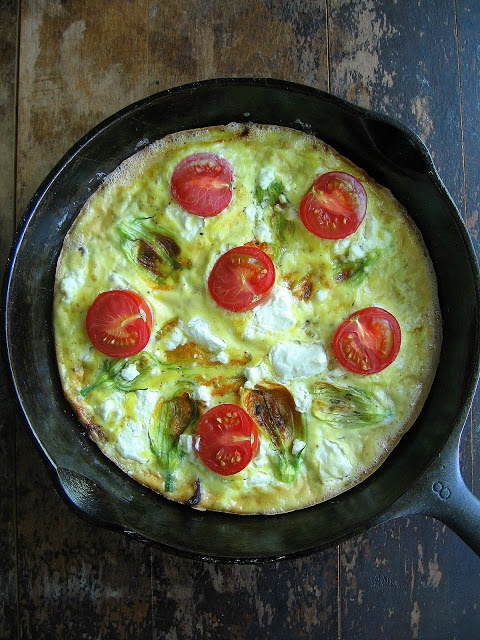 sweetsugarbean: Squash Blossom Frittata with Bacon and Goat Cheese