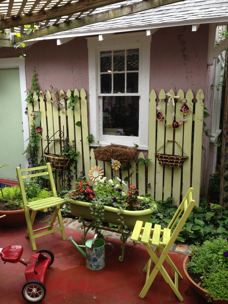 cute vintage garden ideas outdoor living pinterest 736x981 in