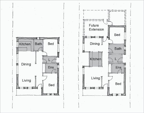 Line Drawings Of Two Floor Plans One Includes Two Bedrooms One With An Ensuite Living And