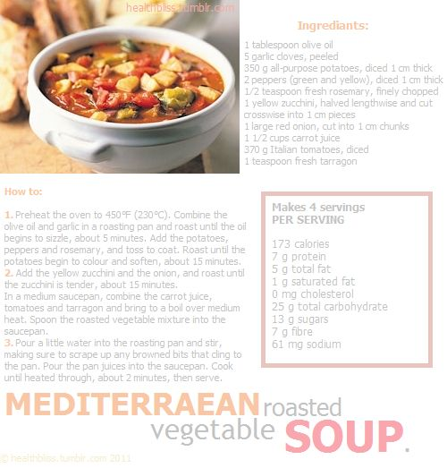 mediterranean roasted vegetable soup | Yum - Soups/Stews | Pinterest